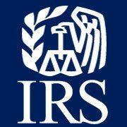 IRS symbol with IRS - blue background and white symbol and lettering