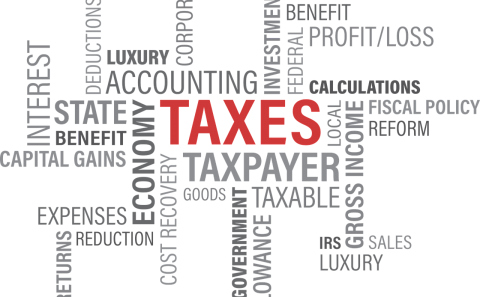A grouping of words with the word TAXES in caps and red. All the words have something to do with taxes