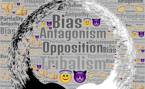 A ying and yang that are black and white figures forming a circle with heads butting up against each other and key words in the back ground such as Bias and Opportunity