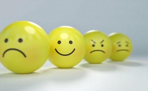 For yellow ping pong balls with sad to smiley faces painted on them