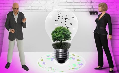 A man on the left. A woman on the right. A big light bulb in between with a tree growing inside and crows flying away.