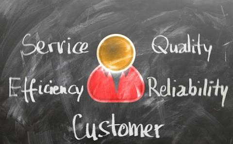 central character surrounded by words of service, quality, efficiency, reliability and customer