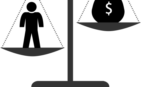 A scale weighing people versus money