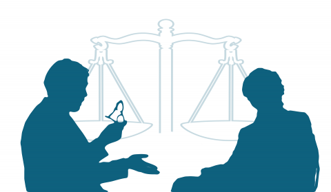 Two shadows of individuals having a discussion with each other with the scales of justice in the background