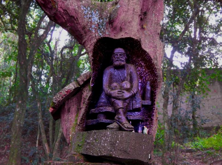 Monk carved into hole in a tree
