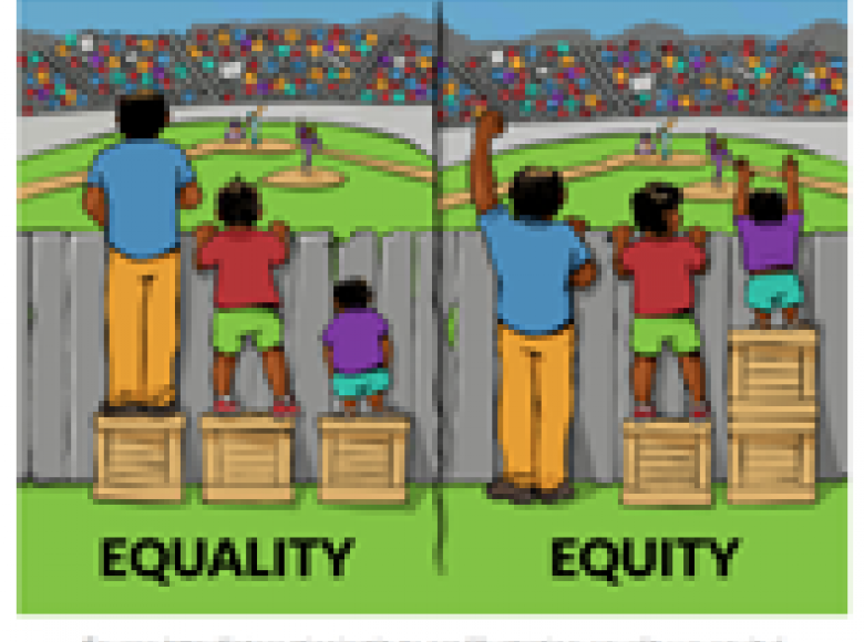 Photo described in the text demonstrating equality and equity