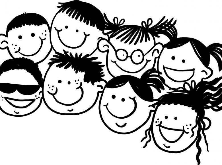 Eight happy cartoon faces all smiling