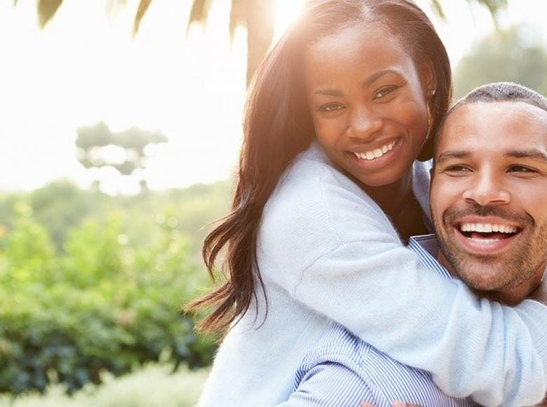 Young beautiful African American couple, happy and apparently in love