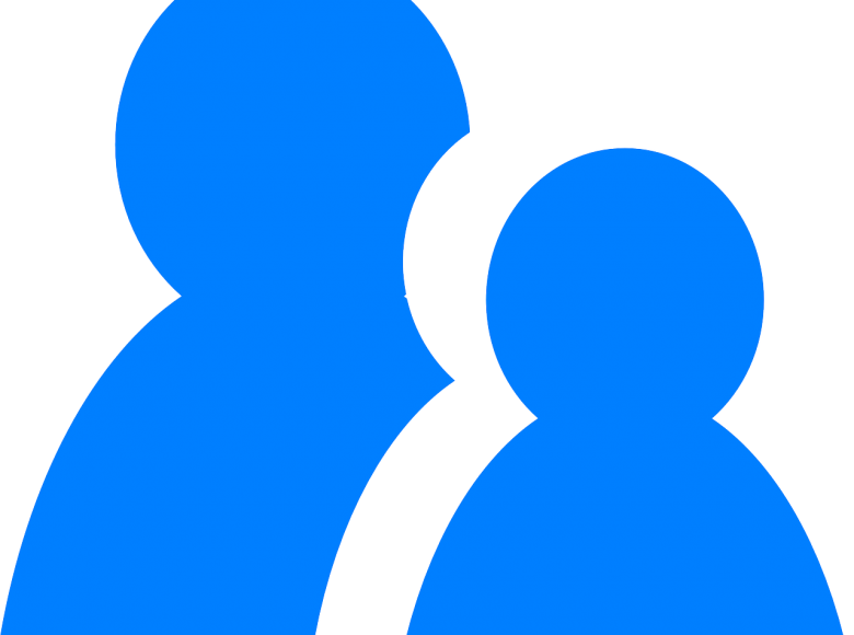 Two blue images of people icons with a larger one to the left and a partially embedded smaller one on the right.