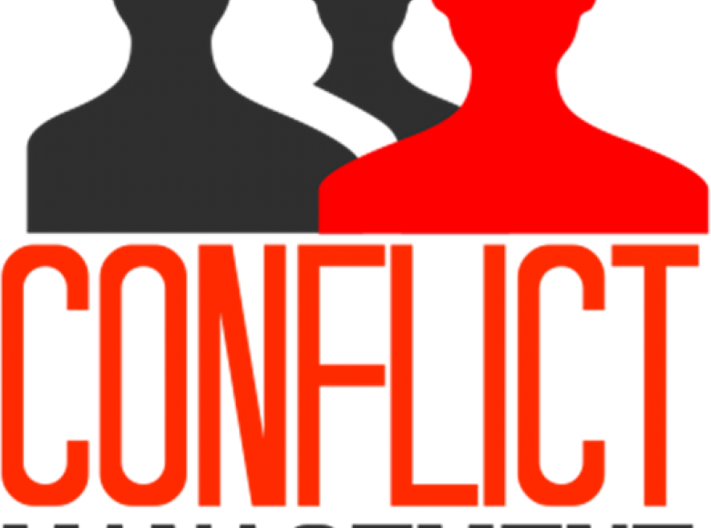 Three silhouettes with two black and one red. Underneath are the words Conflict Management in capital letters. Conflict is larger and in red. Management is smaller and in black.