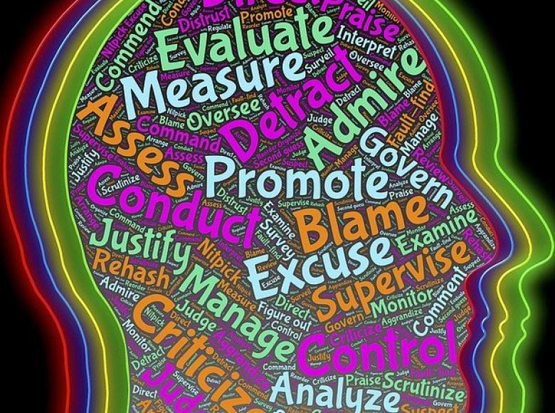 Image of head with words such as promote, excuse, admire, evaluate, measure inside the head in multiple colors
