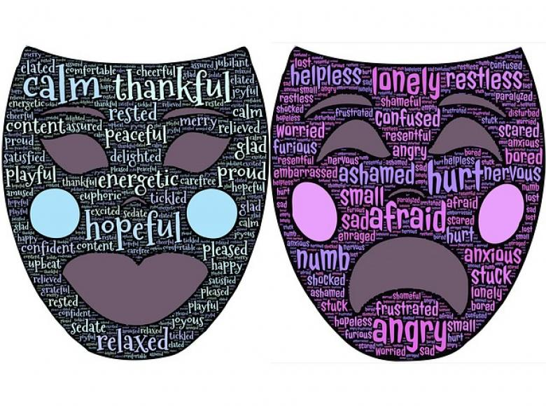 Two drama masks of happy and sad with words imprinted on the masks
