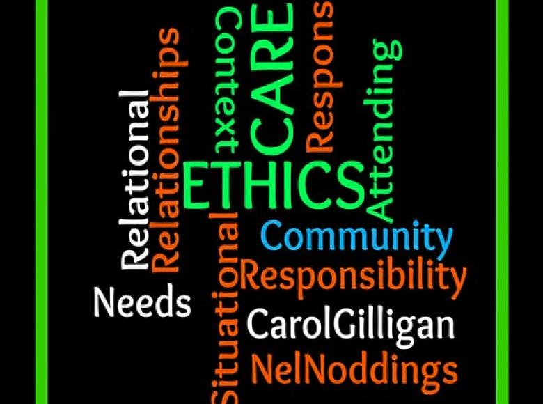 Key words with Ethics in the center surrounded by other related words