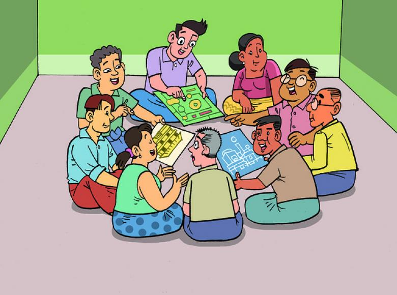Diverse group sitting in a circle negotiating with each other