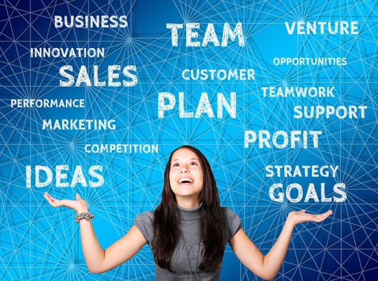 woman smiling with her hands lifted up and a smile on her face with about 25 words above her such as plan, team, ideas, goals etc.
