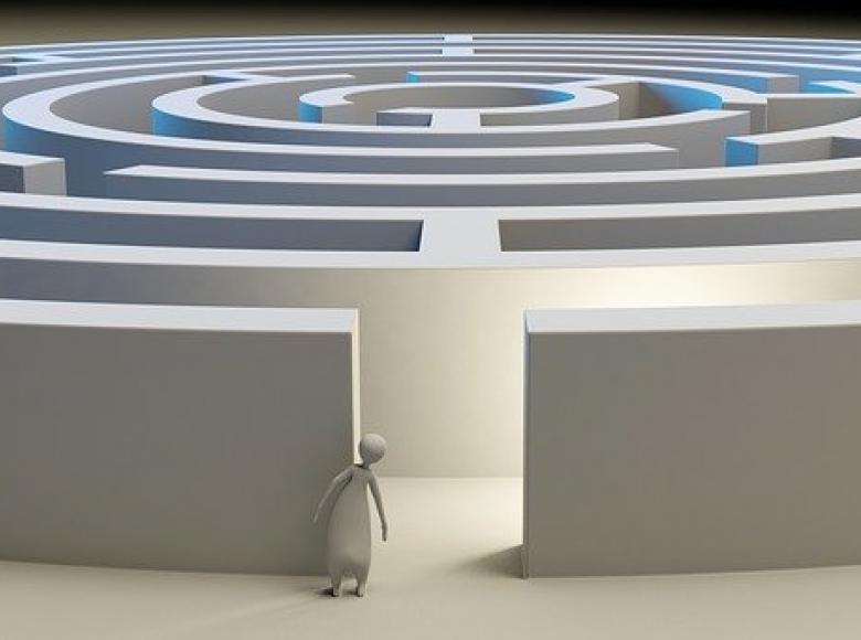 An entry to a circular maze