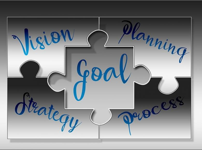 Puzzle pieces coming together with puzzle piece names of goal, vision, strategy, planning and process