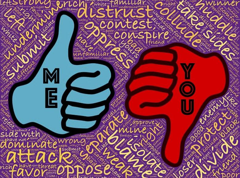 blue fist thumbs up me and red fist thumbs down them